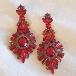 Bebe red and purple earrings